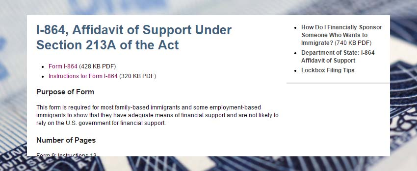 Immigration Law  Form I Affidavit Of Support Immigrant Petition