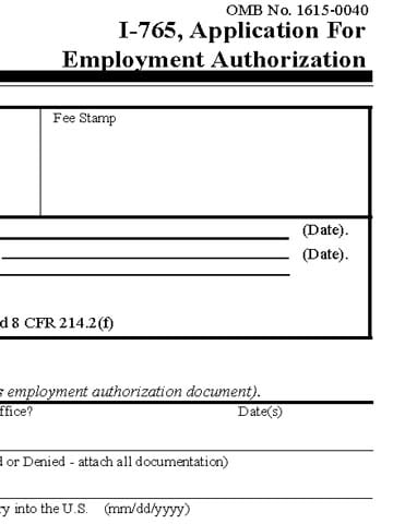 Form I-765, Application for Employment Authorization